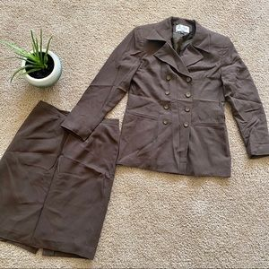 Le Suit Sz 6P Brown jacket blazer Skirt Suit